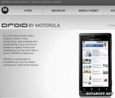 Характеристики смартфона Motorola Verizon Droid